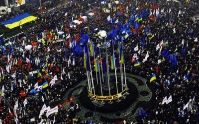 Opposants au centre de  Kiev